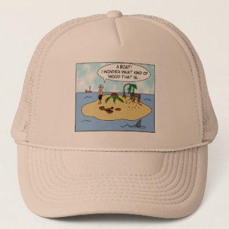 Funny Cartoon Woodturner on Deserted Island Trucker Hat