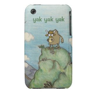Funny cartoon yak on mountain top. iPhone 3 case