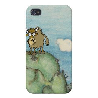 Funny cartoon yak on mountain top. iPhone 4 case