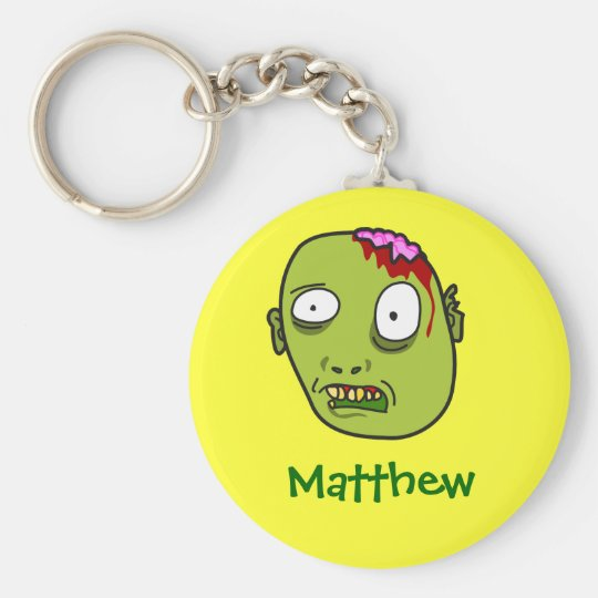 Funny Cartoon Zombie Face Personalised Name Gift Key Ring