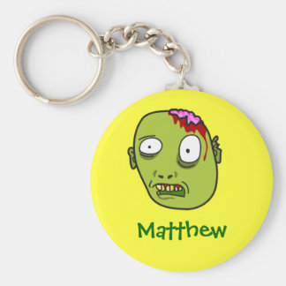 Funny Cartoon Zombie Face Personalized Name Gift Basic Round Button Key Ring