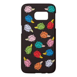 Funny case with colorful cute hedgehogs