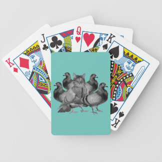 funny cat amongst the pigeons bicycle playing cards