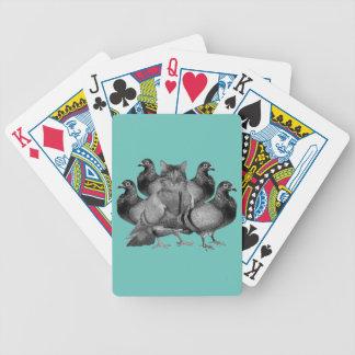funny cat amongst the pigeons poker deck
