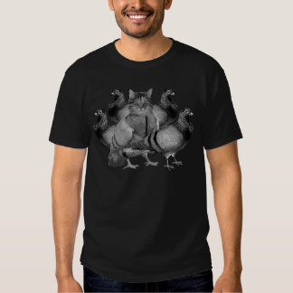 funny cat amongst the pigeons tees