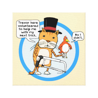 Funny Cat and Bird Magic Trick Stretched Canvas Print