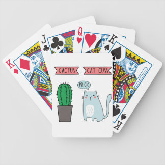 Funny cat and cactus bicycle playing cards