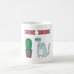 Funny cat and cactus coffee mug
