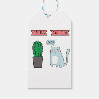 Funny cat and cactus gift tags