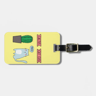 Funny cat and cactus luggage tag