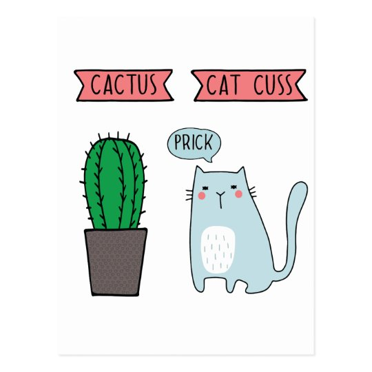 Funny cat and cactus postcard