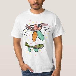 Funny cat and fish design men's T-shirt