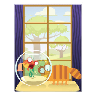 Funny Cat and Fish Flyer Design