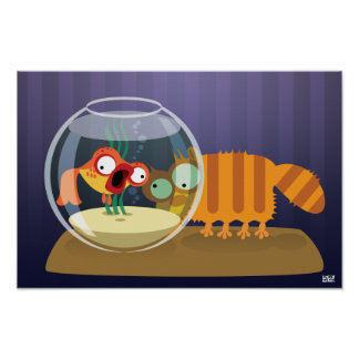 Funny Cat and Fish Posters