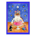 Funny cat and mouse birthday greeting card