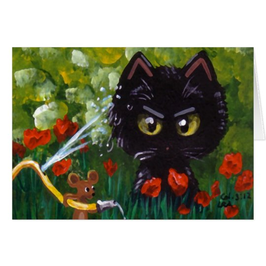 Funny Cat and Mouse Creationarts Lisa R Adams Card