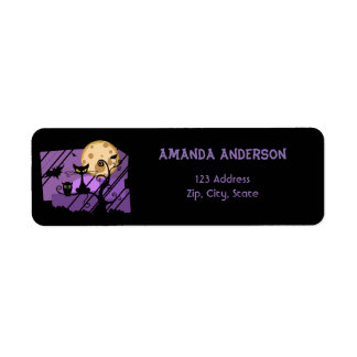 Funny cat and owl at night in purple and black return address label
