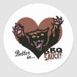 Funny Cat BBQ Round Stickers