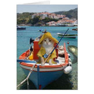 Funny Cat Birthday for Fisherman Greeting Card
