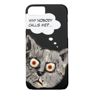 funny cat cartoon black iPhone 8/7 case