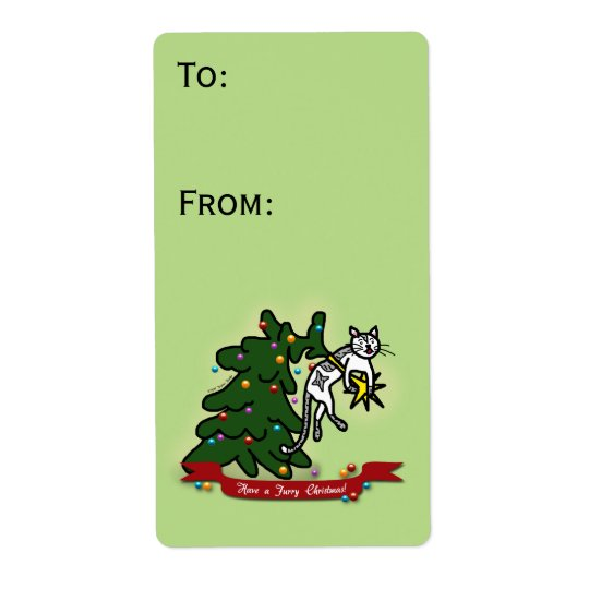 Funny Cat Catastrophe Green Christmas Gift Label