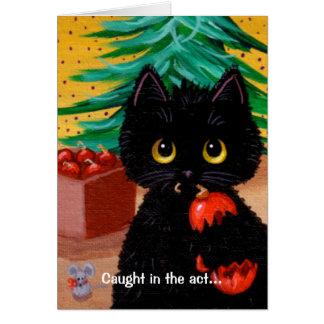 Funny Cat Christmas Art Cartoon Mouse Creationarts Card