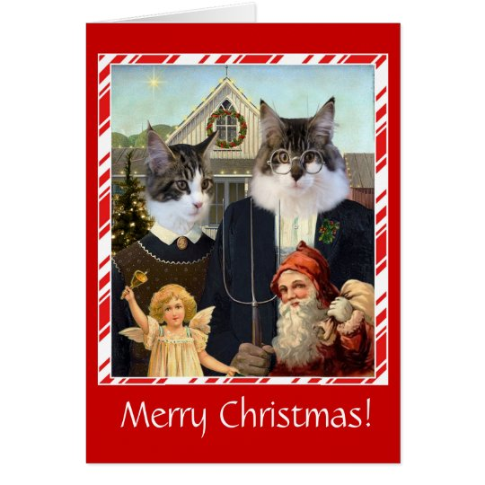 Funny cat Christmas card American Gothic spoof