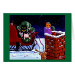 Funny Cat Christmas Card Reindeer Creationarts