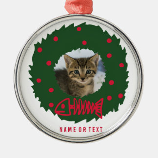 Funny Cat Christmas Wreath With Your Cat's Photo Silver-Colored Round Decoration