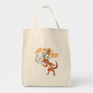 funny cat dog mouse all say cheese vector cartoon grocery tote bag