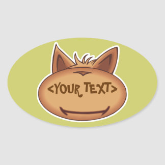 Funny Cat Face, <YOUR TEXT> Oval Sticker