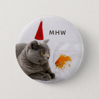 Funny Cat & Fish custom monogram button
