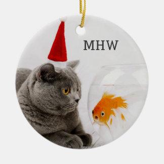 Funny Cat & Fish custom monogram ornament
