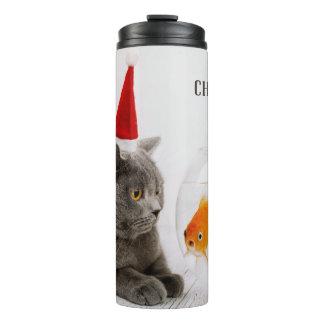 Funny Cat & Fish custom name tumbler