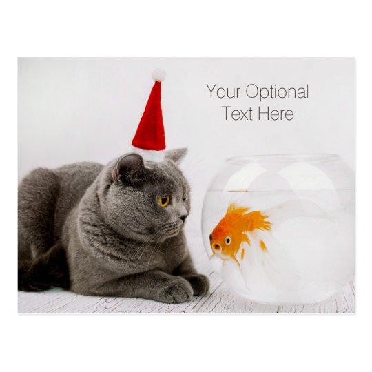 Funny Cat & Fish custom text Christmas postcard
