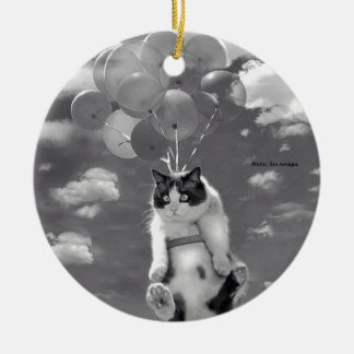 Funny cat flying with Balloons - round Ornament