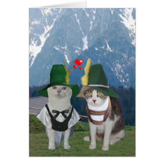 Funny Cat German Valentine for Husband Greeting Card