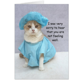 Funny Cat Get Well Greeting Card