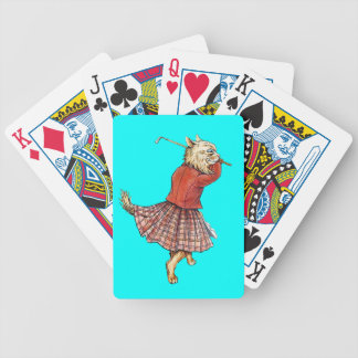Funny Cat Golfer Bicycle Playing Cards