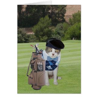 Funny Cat Golfer Birthday Greeting Card