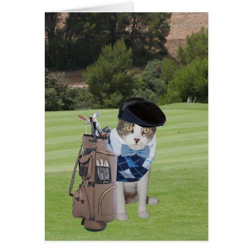 Funny Cat Golfer Birthday Card