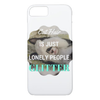 Funny Cat:  Hair is just lonely people glitter iPhone 7 Case