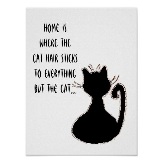 Funny Cat Hair Quote Cute Black Cat Silhouette