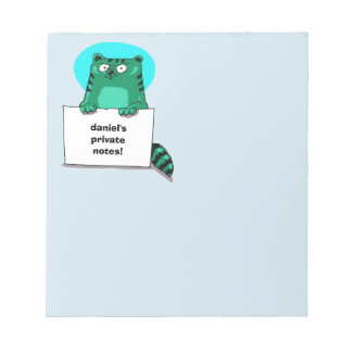 funny cat holds blank banner cartoon notepad