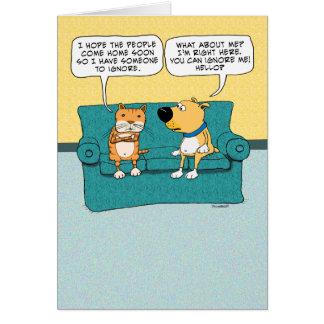 Funny Cat Ignoring Dog Birthday Greeting Card