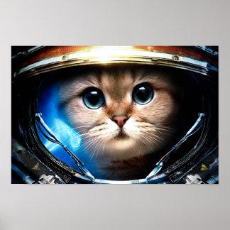 Funny Cat in Space Helmet Poster