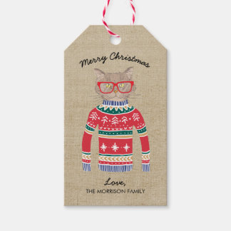 Funny Cat Lover Cat Wearing Ugly Christmas Sweater Gift Tags