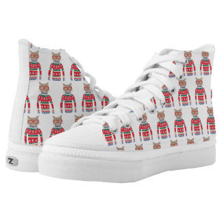 Funny Cat Lover Cat Wearing Ugly Christmas Sweater High Tops