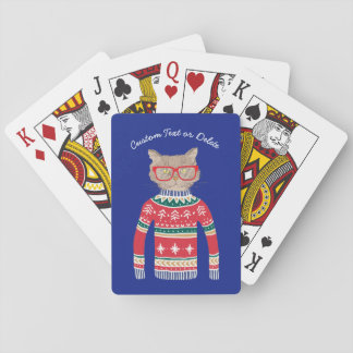 Funny Cat Lover Cat Wearing Ugly Christmas Sweater Playing Cards