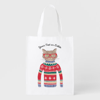 Funny Cat Lover Cat Wearing Ugly Christmas Sweater Reusable Grocery Bag